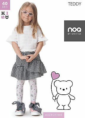 "Girls Tights By Knittex ""TEDDY"" 40 Denier Microfibre ,Teddy And Hearts Pattern"