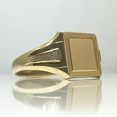Vintage Square Head 1987 Birmingham yellow gold patterned gents Signet Ring