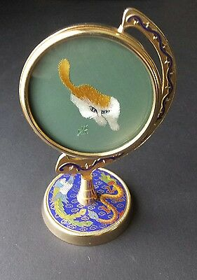 Vintage silk embroidered cat. Enamelled, Chinese 1960s Cloisonne Champleve