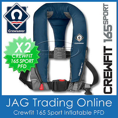 2x CREWSAVER CREWFIT 165  SPORT PFD NAVY BLUE MANUAL INFLATABLE LIFE JACKET 165N