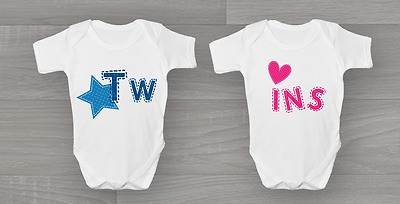 Twins Baby Grow New Arrival Bodysuit Vest Gift Set Idea