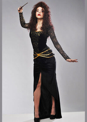 Adult Bellatrix LeStrange Style Costume INCLUDES DRESS AND WAND