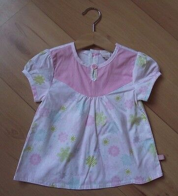 ADAMS Baby Girls Clothes 6-9 Month NEW Pink White Floral Short Sleeve Top Blouse