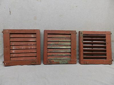 Set of 3 Antique Window Wood Louvered Shutter Shabby Old Chic Vtg 14x14 268-17R
