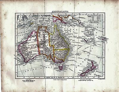 1899 Original Antique Map of Australasia