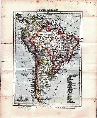 Map of South America Original Antique Map from Book 1899