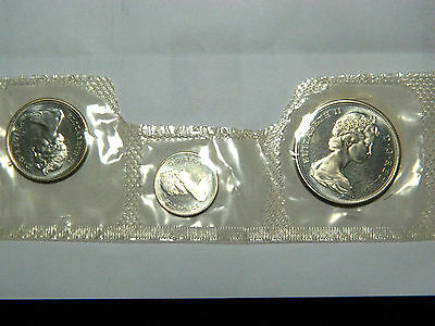 Canada, half, quarter, dime, 1965, 3 coins. From mint set still sealed from mint