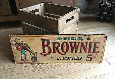 100% Original Brownie Chocolate Drink Embossed Tin Litho Advertising Soda Sign