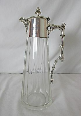 English Silver Plated & Crystal Claret Jug Water Jug Very Fine