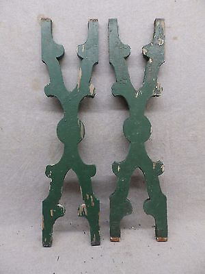 Pair Antique Architectural Gingerbread Flat Balusters Vintage Old 276-17R