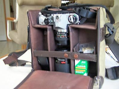 Pentax ME Super 35mm SLR Film Camera with 2 lenses, flash and case