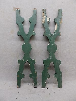 Pair Antique Architectural Gingerbread Flat Balusters Vintage Old 278-17R