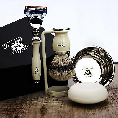 CLASSIC SHAVING SET Gillette Fusion & Silvertip Badger Brush MEN'S GROOMING KIT