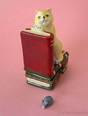 New Handpainted Yellow Tabby Cat on Books w/ Mouse & Yarn Porcelain Hinged  Box