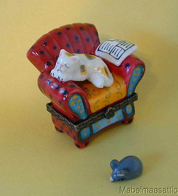 New Sleeping Calico Cat Kitten on Red Chair Porcelain Hinged Trinket Box  PHB
