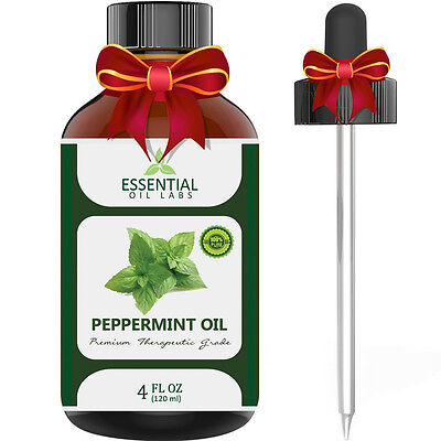 Essential Oil Labs Peppermint Oil Pure Therapeutic Grade 4 oz with Glass Dropper