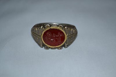 Ancient Roman Silver and Gold Ring, circa 100-200 AD.