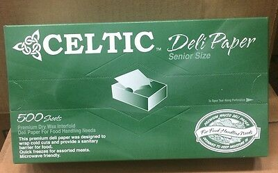 "Celtic 8 x10.75"" Interfolded Pop-up Dry Wax Deli Sandwich Paper 500 Pack Sheets"