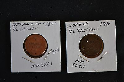Norway 1841 1/2 Skilling Coin and Damaged 1840 1/2 Skilling