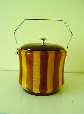 Vintage Retro Lancraft Wood Ware Biscuit Ice Bucket Wooden Chrome Handle Quality