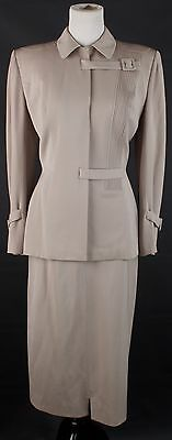 S Vtg 1940s Lilli Ann 2-Piece Beige Wool Blend Skirt & Jacket Set #1154 40s
