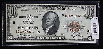 1929 Ten Dollar National Banknote VF F-1860B Federal Reserve Bank of New York S