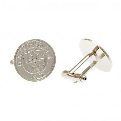 Official Licensed Football Product Manchester City Silver Plated Cufflinks Crest
