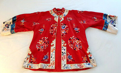 Antique Vintage CHINESE Hand Embroidered RED SILK Lounge Wear JACKET & Pajamas
