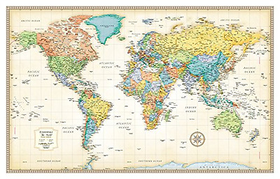 Classic World Map Maps Giant Poster Wall Art Print Home Decor Large Size 50x32in