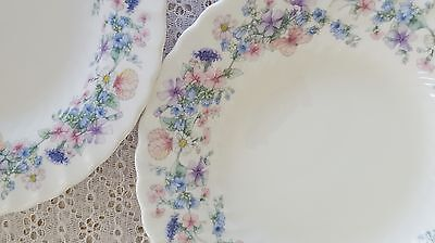 2 Wedgwood Angela Bone China Rim Soup Bowls Vintage Floral Butterfly England