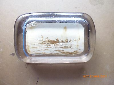 antique MARITIME PHOTO PAPERWEIGHT WHALEBOAT fishing SEAWEED moss oarsmen boat