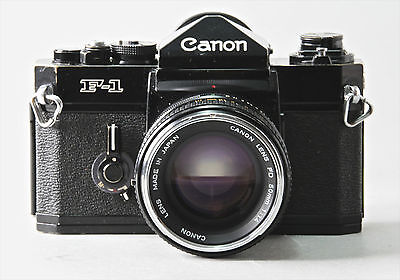 VINTAGE CANON F-1 35mm FILM CAMERA WITH f 1.4 lens.