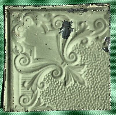 "12"" Antique Tin Ceiling Tile - Light Green Colored Paint - Pretty Design  - A5"