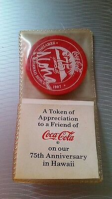 Vintage Coca Cola Hawaii 75th Anniversary Token Chip Round Coin Not Metal
