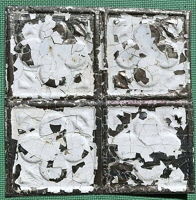"12"" Antique Tin Ceiling Tile - Chippy White Paint - Small Clover Design - A1"