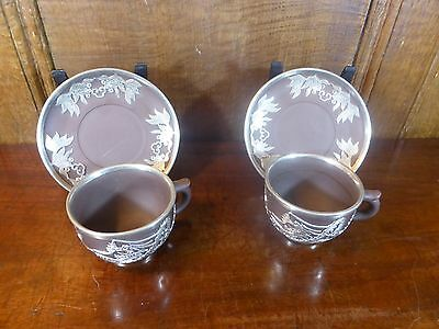 VGC TERRACOTTA ORIENTAL silvered/pewter DRAGON OVERLAID SET 2 CUPS & SAUCERS