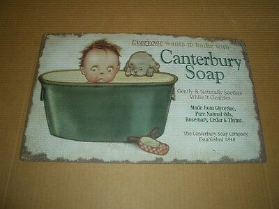 "Vintage Canterbury Soap 16"" Tin Metal Advertising Sign-Boy & Puppy in Bath-RARE!"
