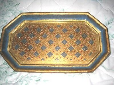 Gorgeous Turquoise Blue Gold Italian Florentine Wood Tole Vintage Dresser Tray