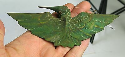 Vintage Art Deco Wood Carved Hand Painted Green Flying Bird Humming Bird ?