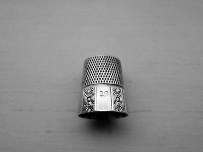 Vintage #10 Thimble by Simons Brothers Stamped Sterling Silver U.S.A. Free Ship