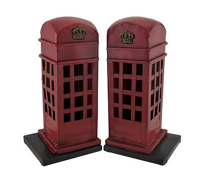Scratch and Dent Retro British Phone Booth Metal Bookends Hand Painted
