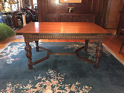 Antique Jacobean/refectory Style 8-Piece Dining Room Set-Table 6 Chairs Buffet