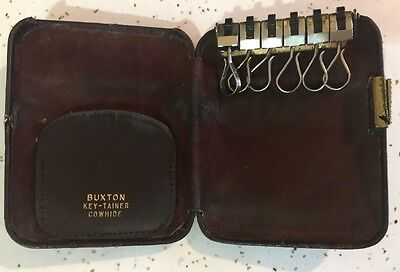 VINTAGE BUXTON KEY-TAINER Key HOLDER HARD CASE Brown Leather