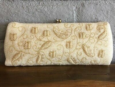 Walborg Clutch Cream And Gold Evening Bag Rare Large Vintage  Late 1940s