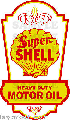 Vintage Style 4 Inch Super Shell Gasoline Motor Oil Decal Sticker