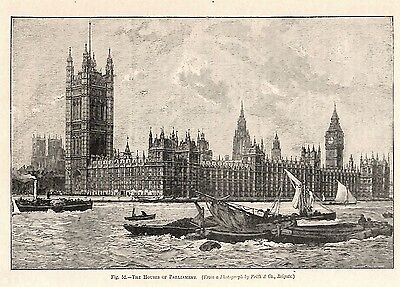 1899 Antique Print Engraving The Houses of Parliament, London