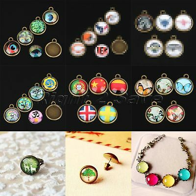 "2 in 1 Set 10pcs 0.98"" Glass Cabochon & 10pcs 0.98"" Cabochon Setting Pendants"