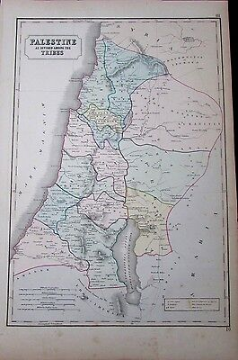 Palestine Israel Holy Land Jerusalem Syria Middle East 1855 antique large map