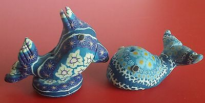Vintage*colorful*dolphin And Whale*figurines*nick Nacks/home Decor