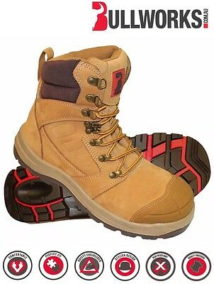 Bullworks KEW Steel Toe Work Safety Boots Mens Size 10 AUS/UK - WHEAT